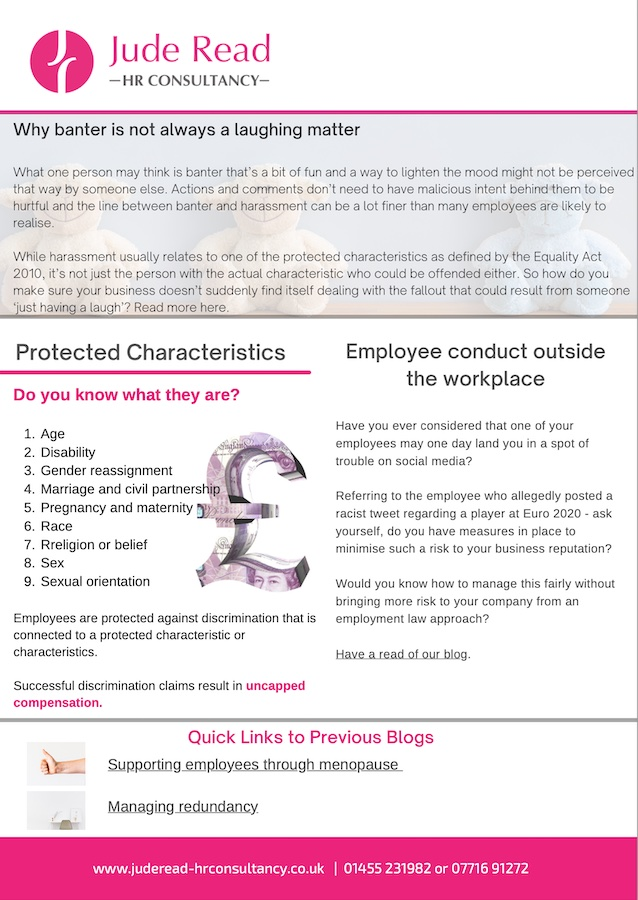 Hybrid working requests | When is an employee legally required to isolate? | Why banter is not always a laughing matter | Employee conduct outside the workplace | Protected characteristics